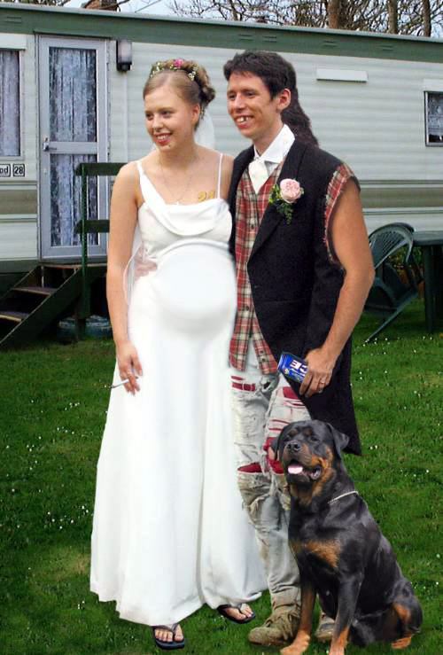 Bride With Her Limo Redneck Couple At Home Wedding